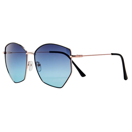 Shiny Metal Geometric Frame With Blue Gradient Lens  (Bsg1108)