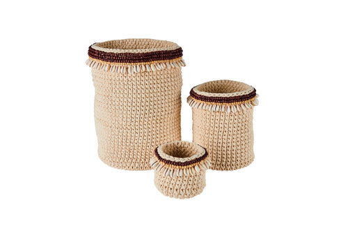 Crochet basket with wooden bead and shell decoration (set of three) (BSHSET1079)