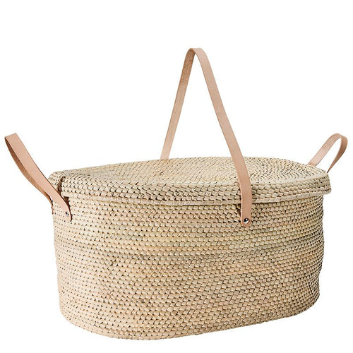ARTISAN OVAL BASKET W/ DOUBLE HANDLES AND LID (BSH5013)