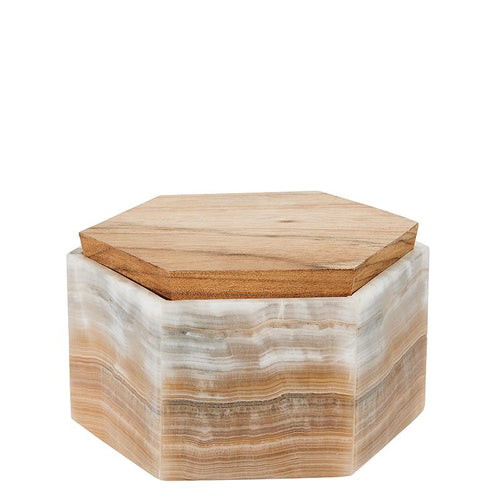 AMBER ONYX HEXAGON JEWERLY BOX  (BSH5026)