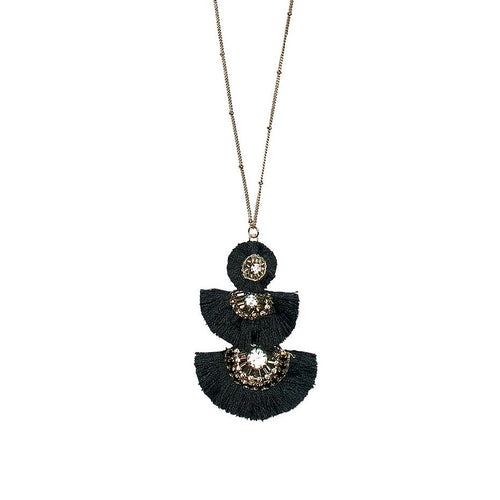 Long 3 tiered fringe necklace with rhinestone detail (BSJ3501)