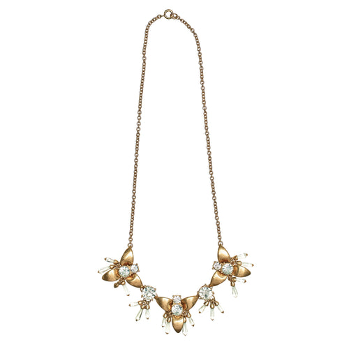 metal bugs with rhinestone statement necklace (BSJ3505)