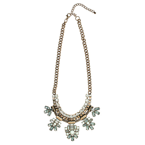 Rhinestone geometric statement necklace (BSJ3508)