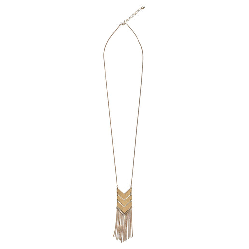 Long necklace with three chevron with chain fringe (BSJ3510)