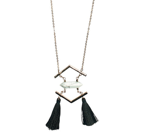 Long Necklace With Faux Howlite Stone And Fringe (BSJ3518)