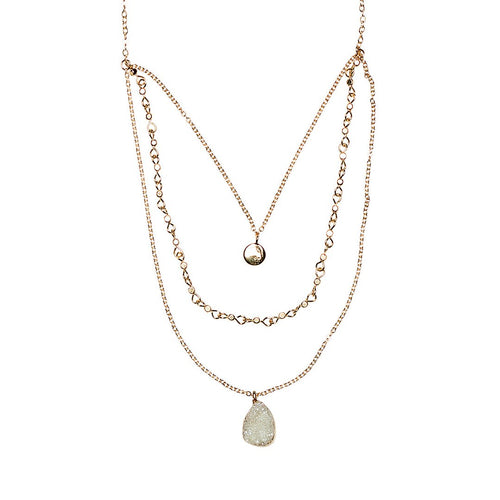 Triple Layered Crystal Stone Necklace w/ Disc & Chain (BSJ3524)