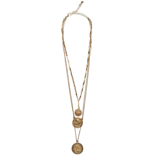 Triple layer chain with coins (BSJ3531)