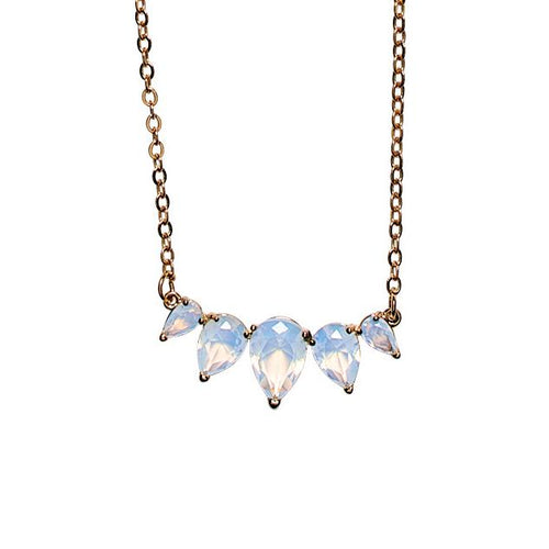 Dainty chain with white faux opal stones (BSJ3532)