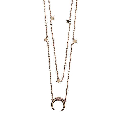 Double layer chain with stars and crescent moon (BSJ3538)