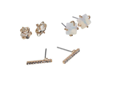 Triple stud gold earring set with faux stones (BSJ3541)