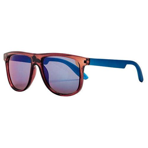 KIDS FLAT TOP FRAME WITH METALLIC TEMPLE AND BLUE MIRROR LENS (BSK1826)