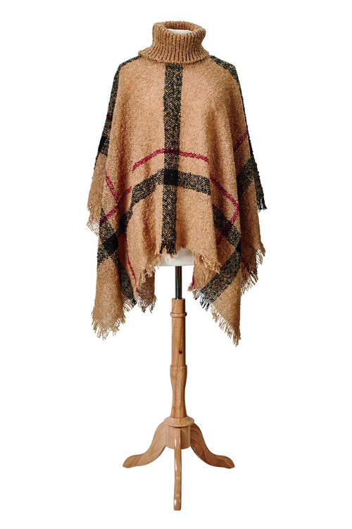 Knit Plaid Turtleneck Poncho (BSP3549)