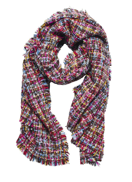KNIT MULTI CHECK SCARF (BSS3658)