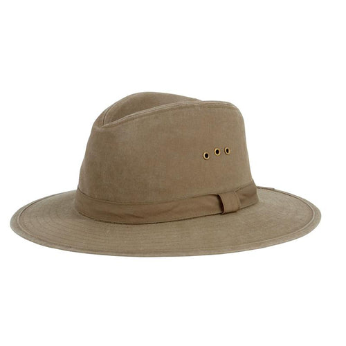 Mens Distressed Canvas Fedora (CTH3732OSOLV)