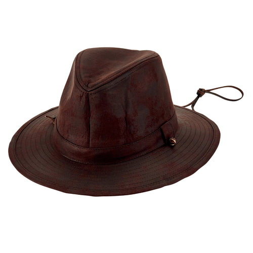 Mens Outdoor Faux Suede Fedora W/ Chin Cord (CTH8053OSBRN)