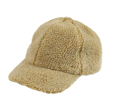 washed faux sherpa ball cap