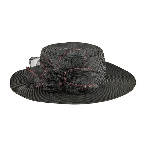 Women's Poly Braid Dress Hat w/ Glitter Rosette (DRS1052)