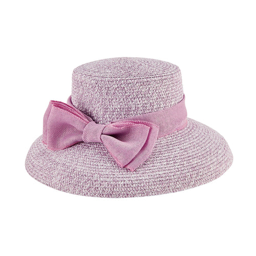 Women's Paper Braid Dress Hat w/ Double Bow Band (DRS1054)