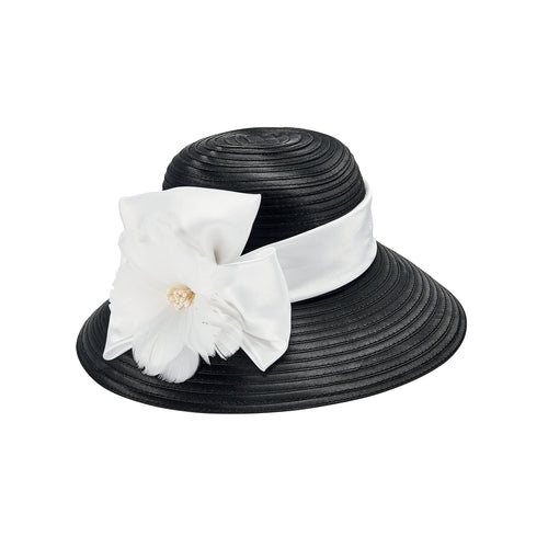 Satin Cloche w/ Ribbon, Bow and Feather (DRS3554)