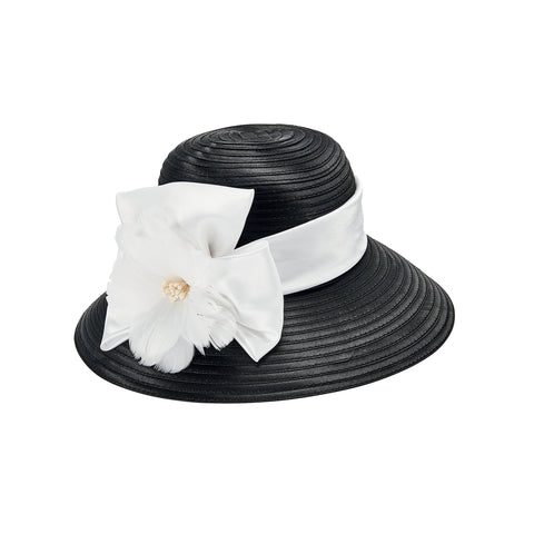 Women's polyester braid with satin band and floral feathers