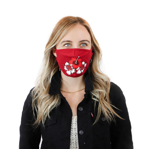 Red Hibiscus Face Cover