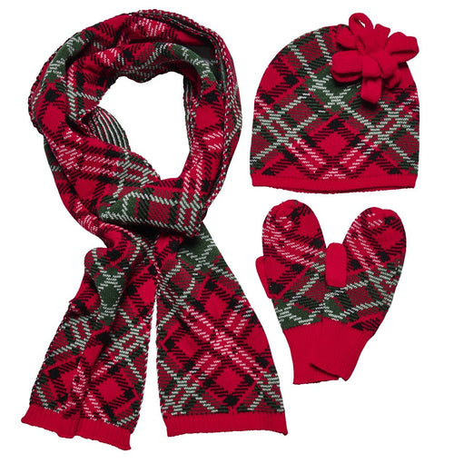 Plaid Holiday Set W/ Scarf, beanie and mittens (FWSET5003)
