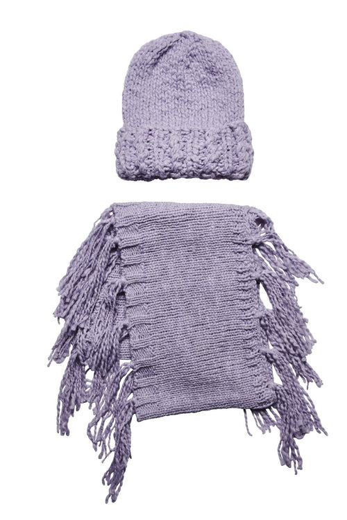 Women's chunky knit beanie and infinity scarf with fringe set  (FWSET5006)