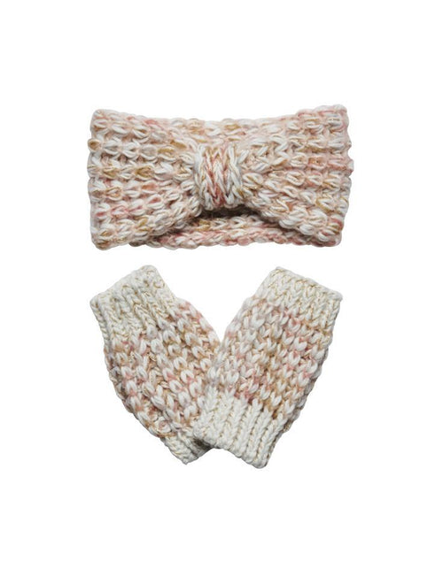 Women's multi color yarn with gold lurex headband, fingerless glove, and poncho set (FWSET5011)