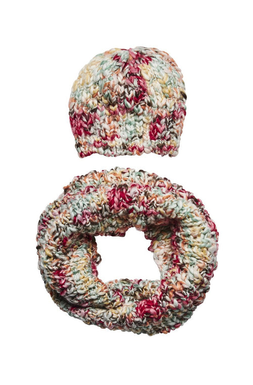 Women's multi color yarn beanie and scarf set (FWSET5012)