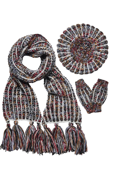 Women's multi color yarn beret, scarf, and glove set (FWSET5030)