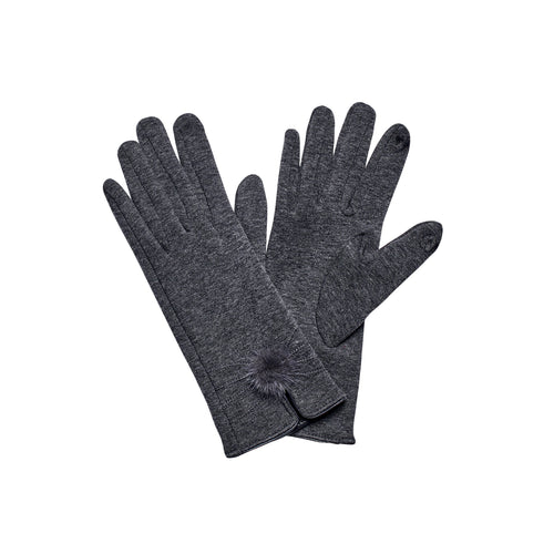 WOMEN'S KNIT POM GLOVE VELORE LINING (KNG3609)