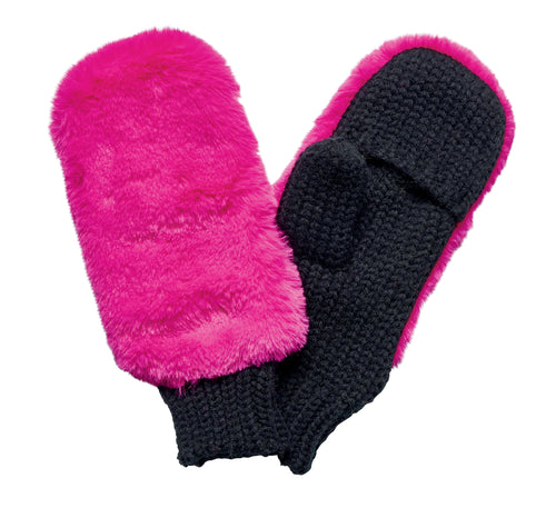 Women's faux fur neon glove with knit palm (KNG5027)