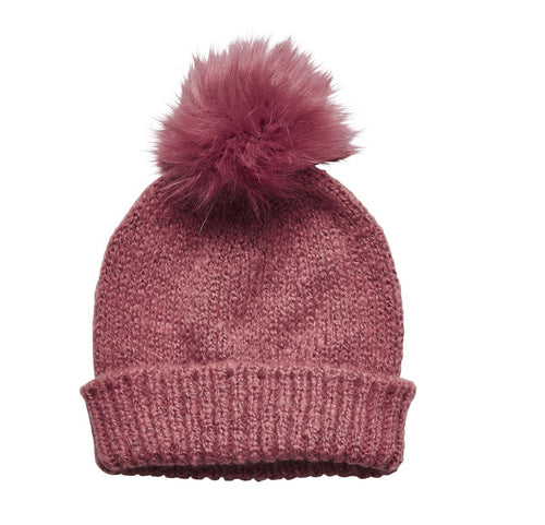 Women's Solid Knit Beanie w/ Faux Fur Pom (KNH2002)