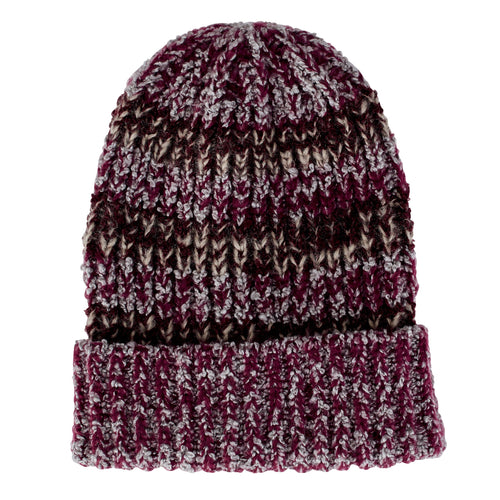 Womens Multi Yarn Beanie W/ Cuff