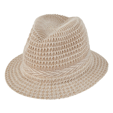 Womens Knitted Panama Fedora With Color Pop