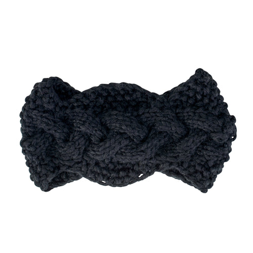 Womens Cable Knit Headband W/ Wood Button (KNH3440)