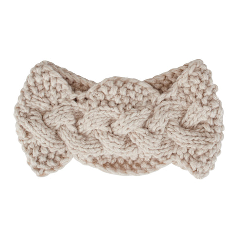 Womens Cable Knit Headband W/ Wood Button