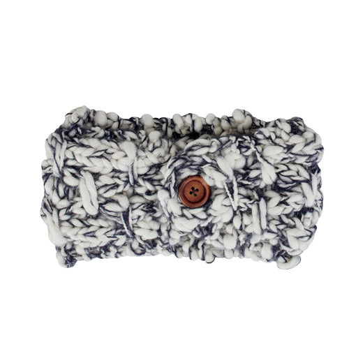 Womens Marled Headband W/ Wood Button (KNH3442)