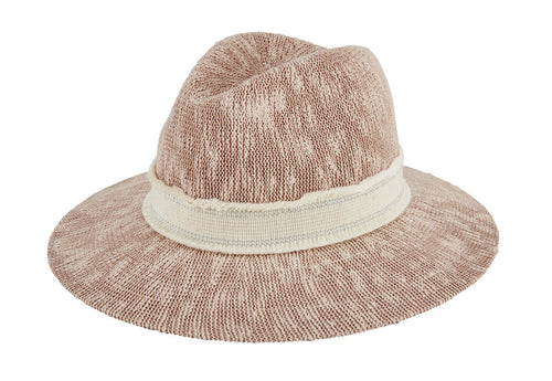 Women's knit fedora with raw edge metallic band (KNH3631)