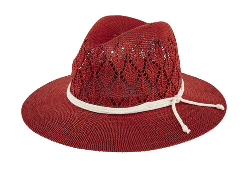 Women's knit fedora with rope trim (KNH3632)