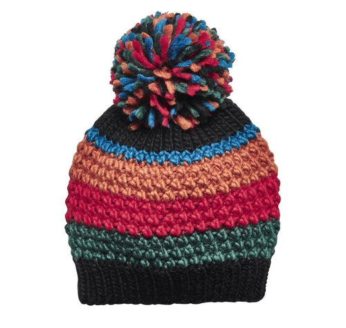 Women's Striped Beanie w/ Pom (KNH5001)