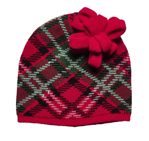WOMEN'S PLAID GIFT BOW BEANIE (KNH5003)