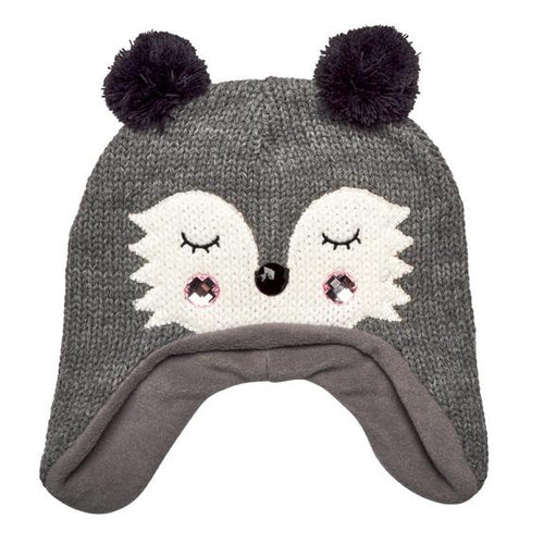KIDS KNIT RACCOON BEANIE W/EAR FLAPS (KNK3614)