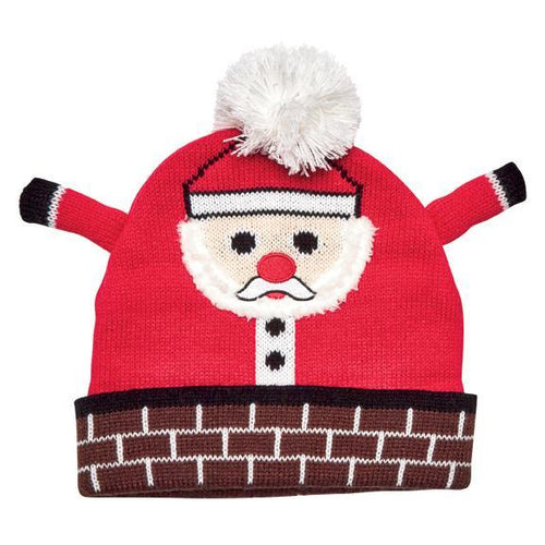 Kids Knit Santa Beanie In Chimney (KNK3616)