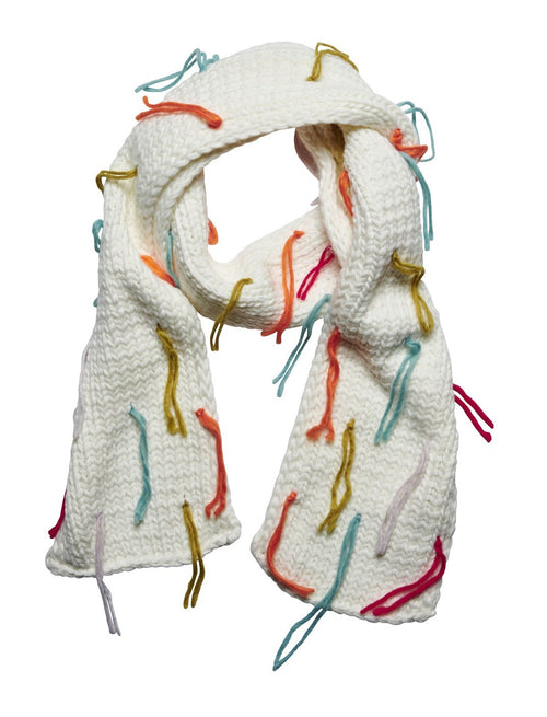 Women's scarf with multi color fringe (KNS5007)