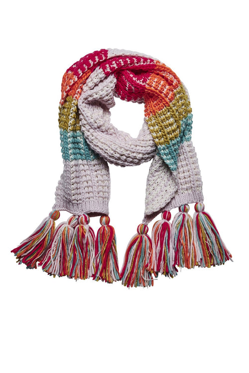 Women's multi color oversized scarf with tassels (KNS5013)
