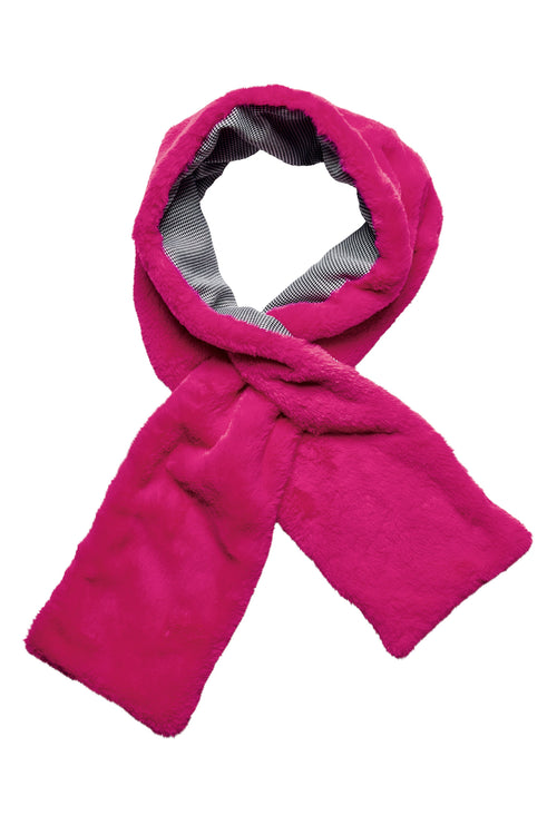 Women's faux fur neon scarf with herringbone linining (KNS5027)