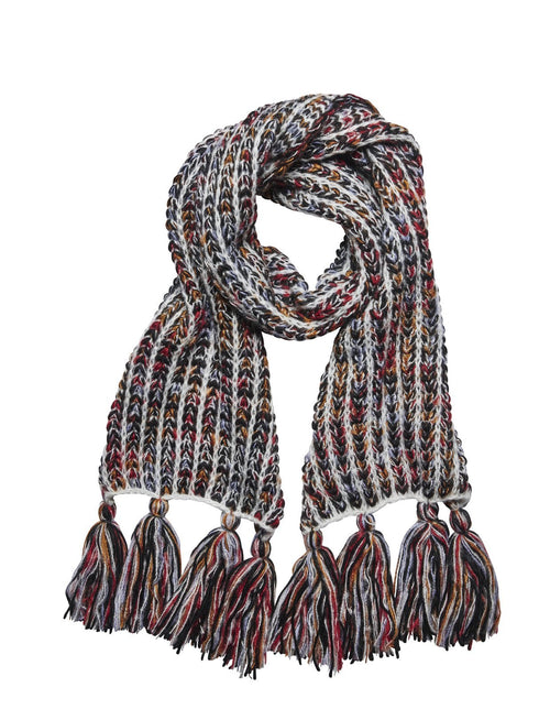 Women's multi color yarn oversized scarf with tassels (KNS5030)