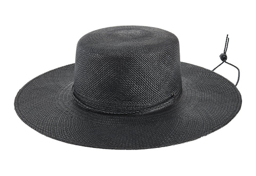 Women's panama straw boater with braided faux leather chin cord (MEX8220)