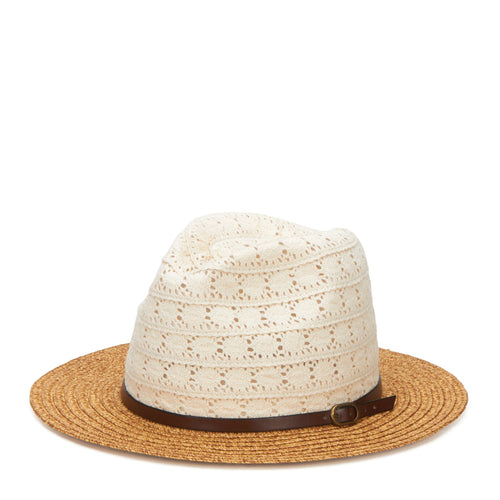 Women's Paperbraid Fedora With Cotton Lace Crown And Faux Leather Belt Band (PBF6164)